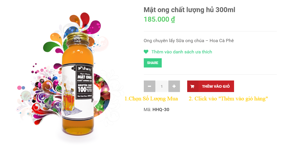 Mật ong chất lượng hủ 300ml